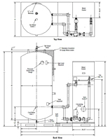 Dimensional Drawing for Evolution Hot Water Boilers - On/Off and Modulating, Indoor, Storage Tanks/Skid